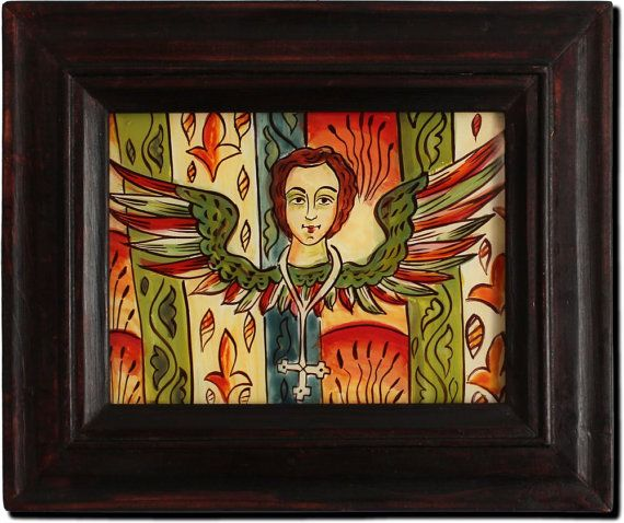 Angel. Romanian reverse icon glass handmade painted. Folk icon Romanian folk Available the icon shown in the photos.