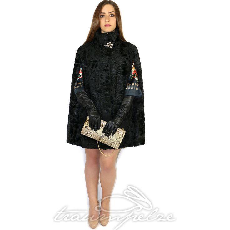 swakara fur cape pelz poncho umhang mantel breitschwanz. Black Bedroom Furniture Sets. Home Design Ideas