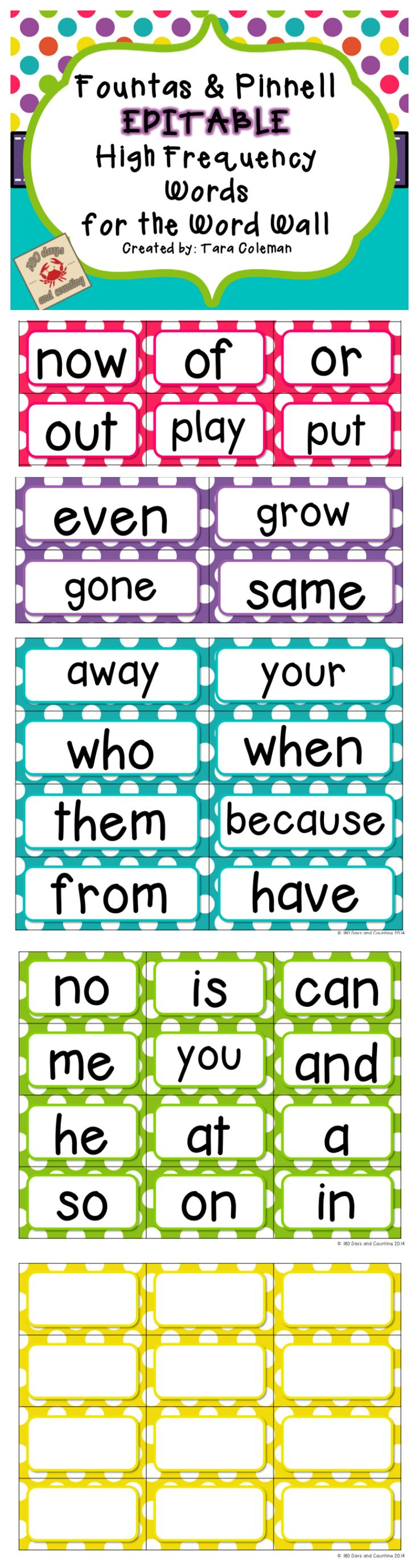 Fountas & Pinnell Editable Word Wall Cards.  Sets of 25, 50, 100, and 200 words...color coordinated!  Cute, polka-dot design.