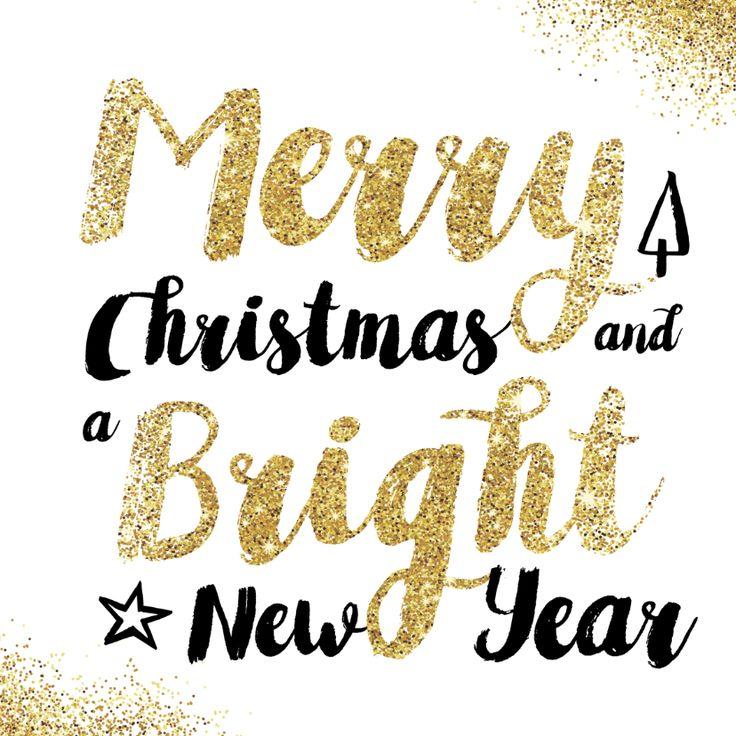 Chique, stijlvolle en opvallende kerstkaart met mooi geschreven kerstwens met gouden glitter look, verkrijgbaar bij #kaartje2go voor €1,89