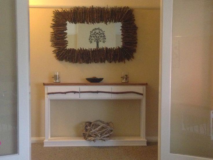 mirror my husband  and i made,hall way table and driftwood  basket my husband made