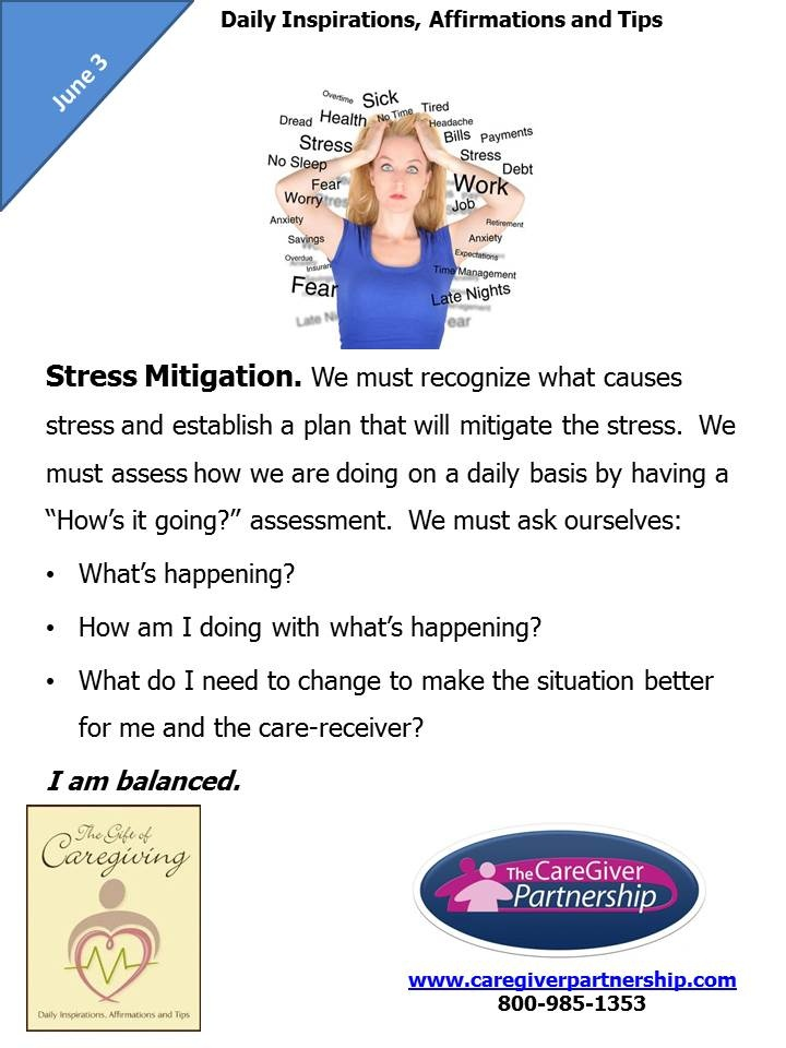 June 3 daily caregiver affirmation stress mitigation
