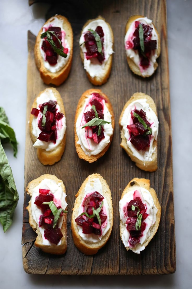 Feasting at Home : Beet Bruschetta with Goat Cheese and Basil