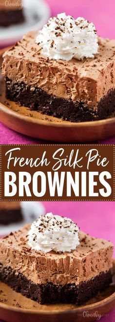 French Chocolate Silk Pie Brownies recipe | FUDGY BROWNIES TOPPED WITH A DECADENTLY RICH FRENCH SILK PIE FILLING, WHIPPED CREAM AND SHAVED CHOCOLATE… THEY'RE THE ULTIMATE CHOCOLATE LOVERS DESSERT! Add this to your chocolate pie recipes board!