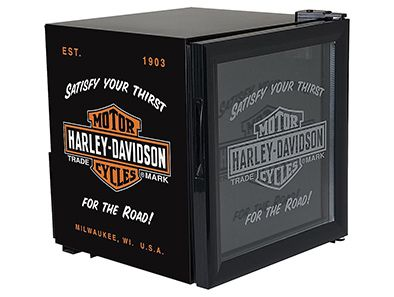 Keep all your favorite beverages cool with this awesome Harley-Davidson Beverage Chiller! It holds up to a full case of drinks at just the right temperature, with a double-layered glass door and the classic Jack Daniel's logo!