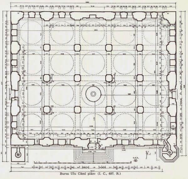 Bursa Ulu Cami, 1398-99, Yıldırım, doğudaki minareyi I.Mehmed ekletmiş, Yıldırım'ın minare kaidesi mermer, mermer pencere var, bu pencerenin tam karşısında sonradan eklenen mahfil var, orijinal mahfil mermer pencereye bitişik olabilir. chevron [zikzaklı] kemer, pencere üstlerinde nefeslikler, coushion arches, mihrap mukarnası orijinal, çok birimli