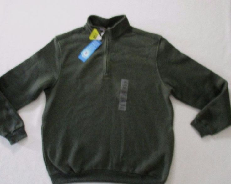 PGA Tour Men Sweatshirt M Green Solid 1/2 Zip Fleece Cotton Polyester 1700D #PGA #FleeceTops