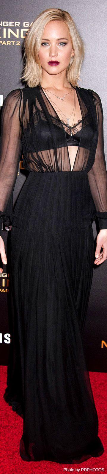 "Jennifer Lawrence wearing black Schiaparelli dress and Eva Fehren jewelry - ""The Hunger Games: Mockingjay - Part 2"" New York City Premiere - 11/18/2015"