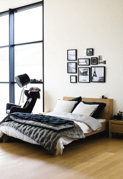 bachelor bedroom ideas wooden bed and nightstand and modern wingback chair and tripod floor lamp and wall hanging picture decorating bachelor bedroom