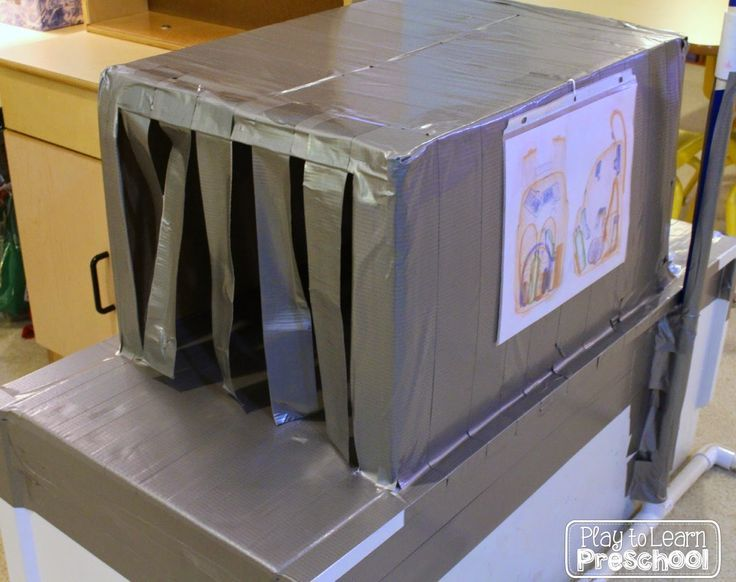 Airport Dramatic Play - This is the baggage x-ray machine!  Play to Learn Preschool
