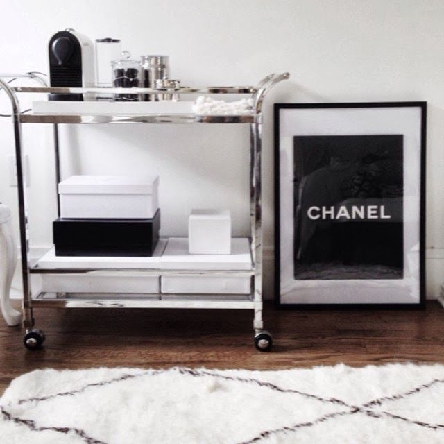 modern glam bar cart chanel black white and silver - Red Black And Silver Room Decor