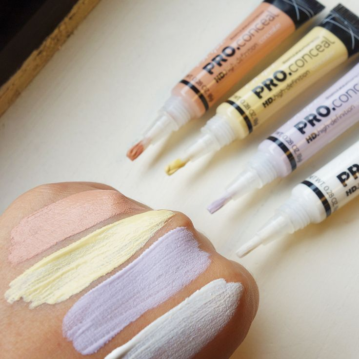 ☝☝So excited to try these new  shades!! Here are swatches for you!! Top to bottom: Peach Corrector, Light Yellow Corrector, Lavender Corrector and Highlighter  http://www.ikatehouse.com/la-girl-conceal.html