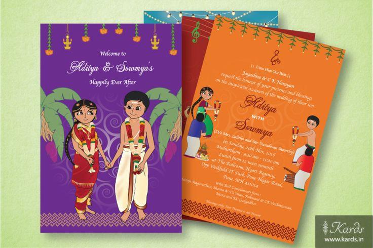 A Multi-insert Tambhram Wedding invitation, where each insert illustrates the beauty of various ceremonies of a Tamil Brahmin Wedding :-)