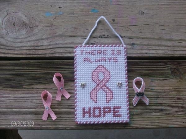 plastic canvas breast cancer sign