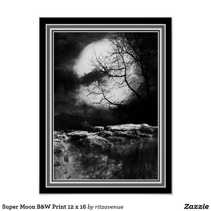 Super moon bw print 12 x 16