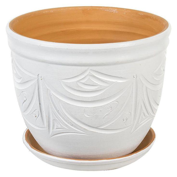 Горшок керамический с поддоном Узоры, диаметр 18,5 см, 4,2 л, цвет белый