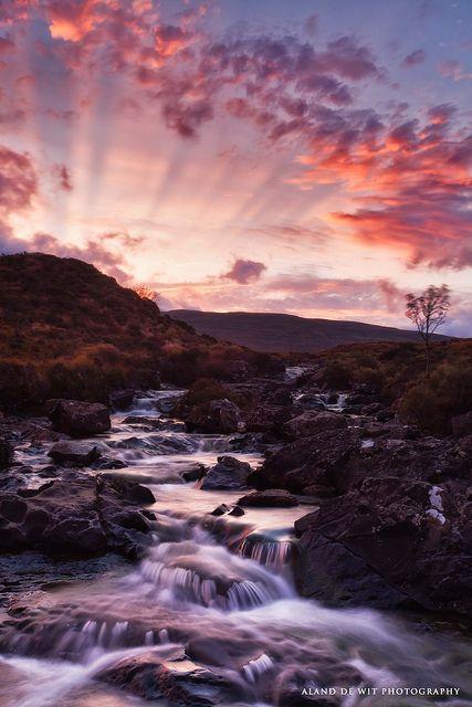 Sunset at waterfall Sligachan, Isle of Skye, Scotland
