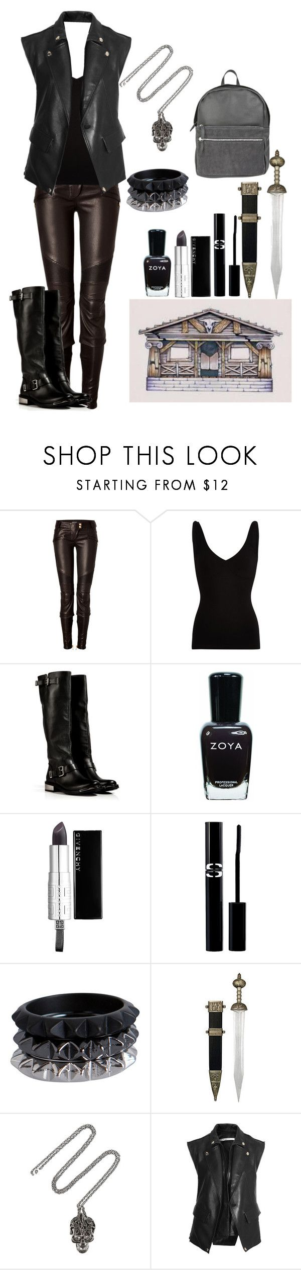 """daughter of Hades ( Ready for War)"" by archie-martin-potterhead ❤ liked on Polyvore featuring Balmain, Comptoir Des Cotonniers, Le Silla, Zoya, Givenchy, Sisley, Pieces, S.W.O.R.D., Alexander McQueen and Park House"