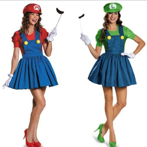 16 adult #womens mario and luigi costume super #plumber bros halloween #fancy dre,  View more on the LINK: http://www.zeppy.io/product/gb/2/201616879987/