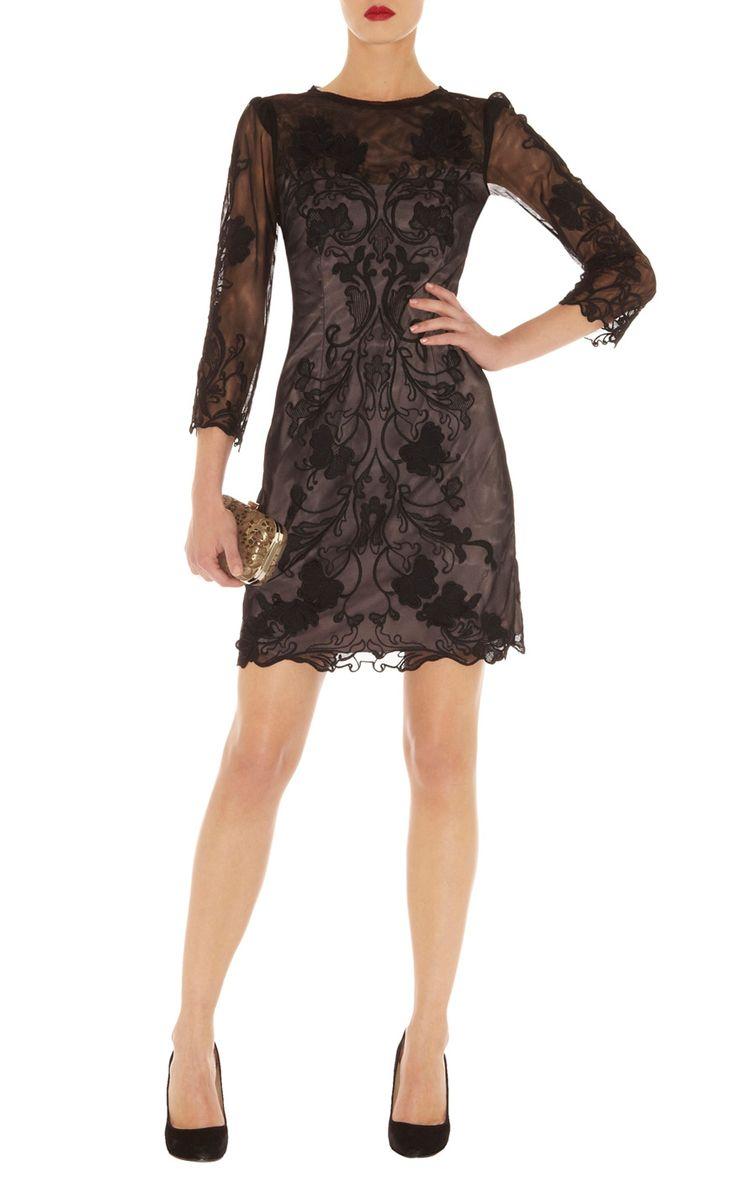 Black dress karen millen - Dresses Black 3d Floral Lace Dress Karenmillen Stores Limited