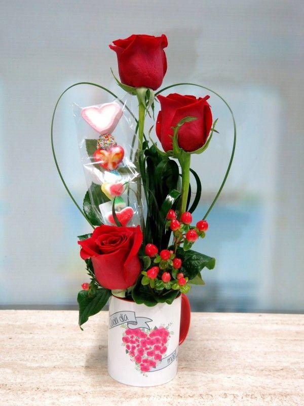 Rosas En Taza Con Una Brocheta Gift Candy Bouquet