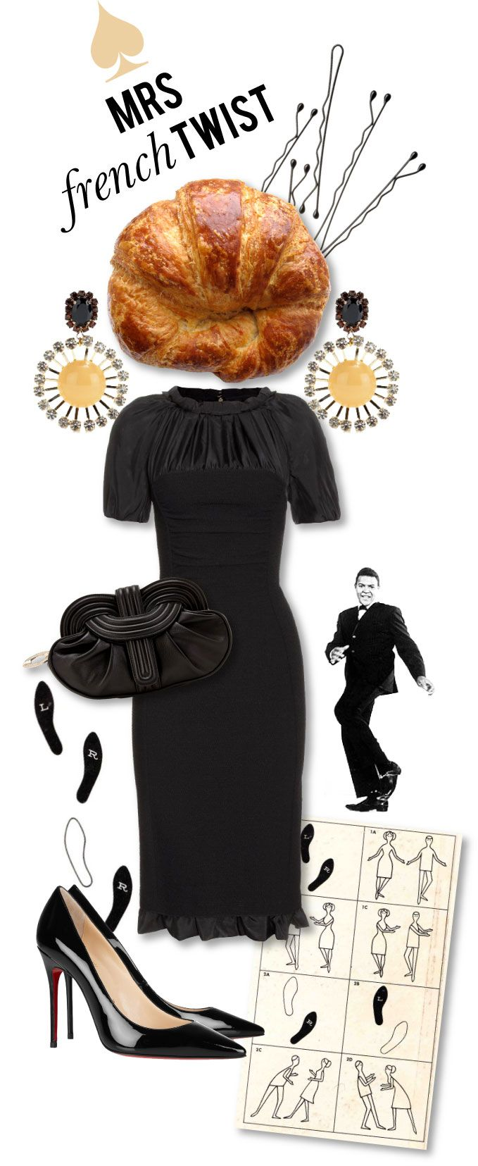 Mrs. Lilien - Styling House (Marni Starburst Earrings / Nina Ricci, Puckered Frock / Twisted Leather Clutch / Christian Louboutin Patent Pumps / The Twist)