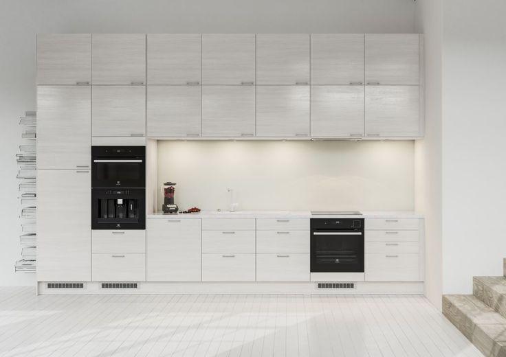 Rakastatko järjestystä? Edge White Ash -keittiö on silloin sinulle juuri sopiva valinta – tässä keittiössä säilytysmahdollisuuksia on enemmän kuin tarpeeksi. Laatikot ja ovet ulottuvat lattiasta kattoon ja kätkevät taloustarvikkeet tyylikkäästi. Keittiötä voi helposti täydentää saarekkeella.