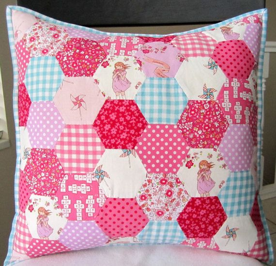 Children At Play Hexagon Patchwork Pillow  18 Inch by liltulip, $90.00