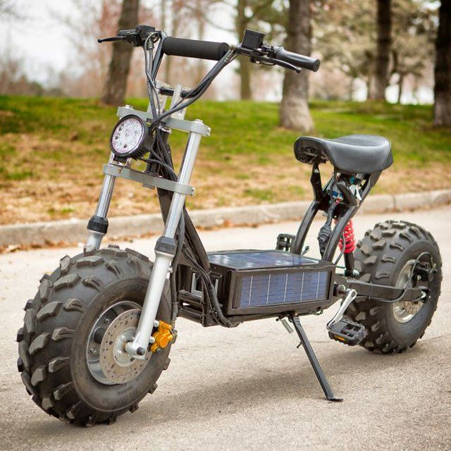 """Rugged, street-legal, and eco-friendly, the Beast Off-Road Scooter blends a surprising mix of features into a versatile vehicle. An electric motor (or two) propels the bike to speeds of up to 30 miles an hour, and is powered by a rechargeable battery pack that can draw juice from a wall outlet, from the kinetic energy created by pedalling, or from the integrated solar panel. It also has a strong steel frame, a powerful headlight, USB ports for charging gadgets, and knobby 21"""" tires that…"""