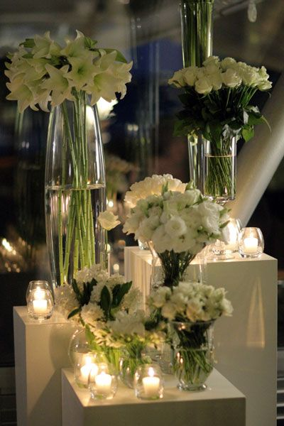 altar arrangements decor white wedding flowerswhite