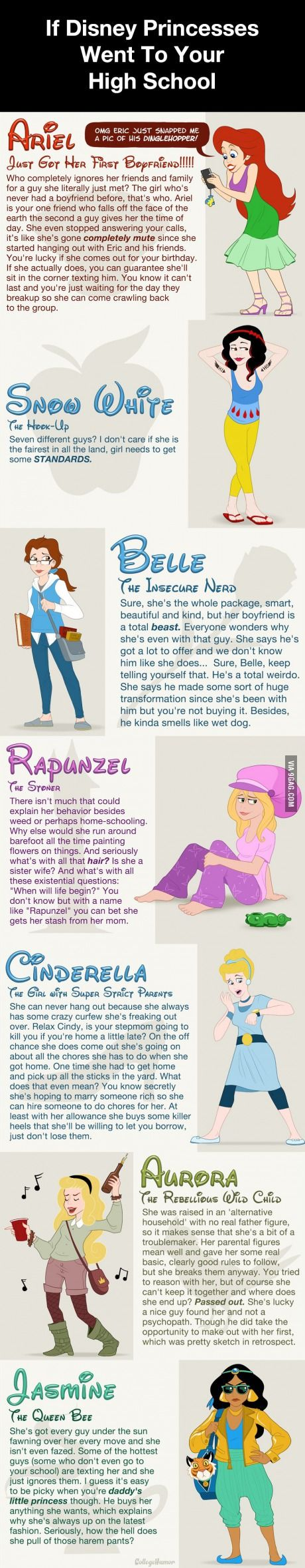 If Disney Princesses Went To Your High School.....hahahahah!!!! Rupunzel a sisiter wife?!? Hahaha! Love the Mean girls reference with Jasmine too! HA!!!