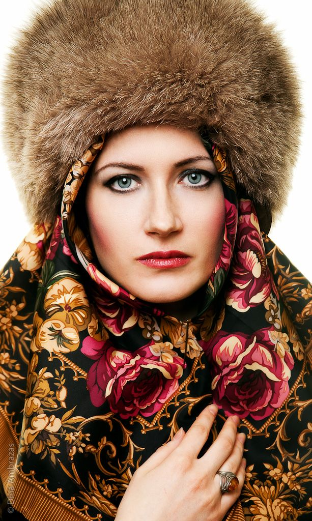 A Russian shawl with a fur hat – it's warm and beautiful! #Russian #shawl