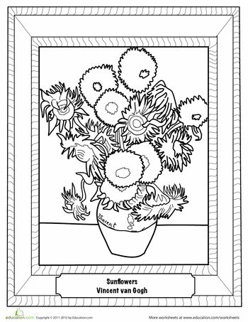 Worksheets: Sunflowers by Van Gogh