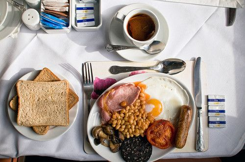 full English breakfast. Toast, eggs, bacon, bangers, beans, cooked tomato and tea a must, mushrooms depend on the chef. Black pudding is more typical of a Welsh/Scottish breakfast.