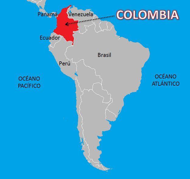Mapa con los límites de Colombia