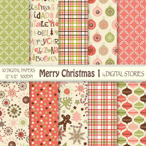 """Christmas Digital Paper: """"MERRY CHRISTMAS 1"""" Scrapbook paper with retro Christmas ornaments for invites cards, background - Buy 2 Get 1 Free"""