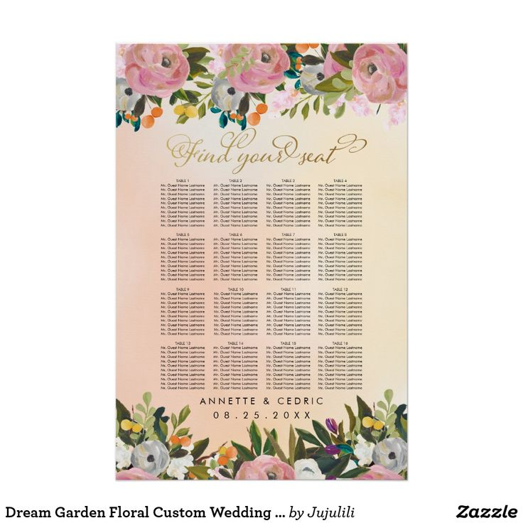 Dream Garden Floral Custom Wedding Seating Chart *************************************** PLEASE NOTE THAT THIS PRODUCT HAS ELEMENTS THAT ARE DESIGNED TO LOOK METALLIC, BUT NO ACTUAL METALLIC INK OR FOIL WILL BE PRINTED ON THIS PRODUCT *************************************** Lovely hand drawn illustration in watercolor style. Colorful shades of orange, purple, blue, yellow and pink flowers with bright green and dark green leaves. Small branches, twigs, lemons and oranges create this whimsical…