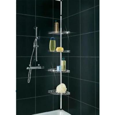 Wenko 8145500 In lengte verstelbaar douche-hoekrek van roestvrij staal