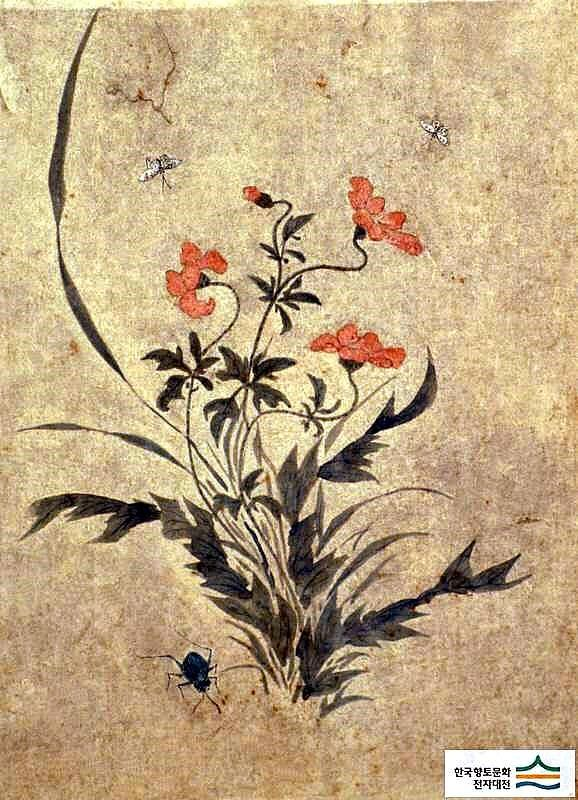 (Korea) Folder Screens by Lady Shin Saimdang (1504- 1551). 48.6×35.9cm. ca 16th century CE. colors on paper. Ojukheon Museum.