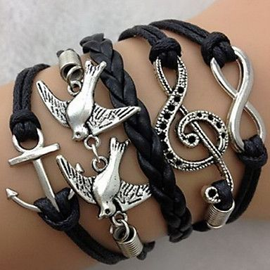 Multi Layers Anchor Wings Cross  Infinite Charms Handmade Leather Bracelets(Assorted Color)  – USD $ 1.99