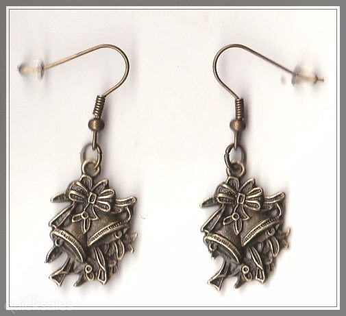 Christmas Bells Charm Bronze Drop Earrings  by MadAboutIncense - $8.50