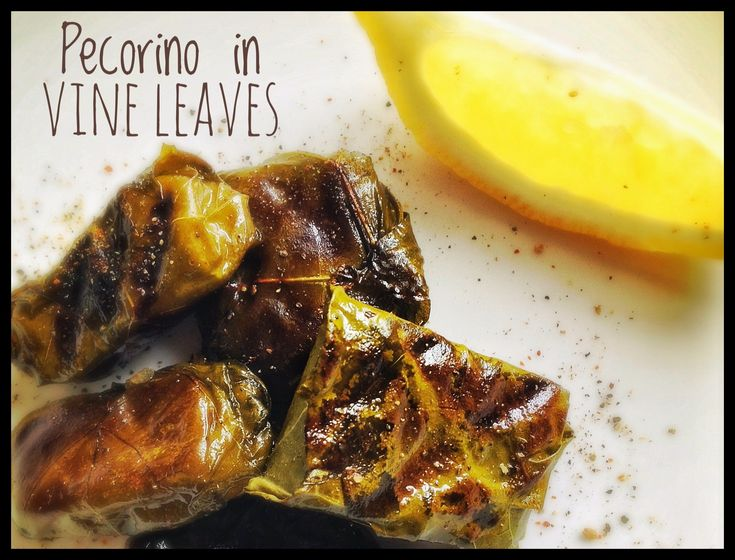 Grilled Pecorino Wrapped in Vine Leaves