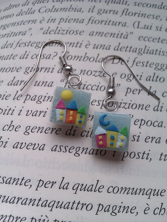 Handmade polymer clay small houses earring by MiniCose on Etsy, €18.00