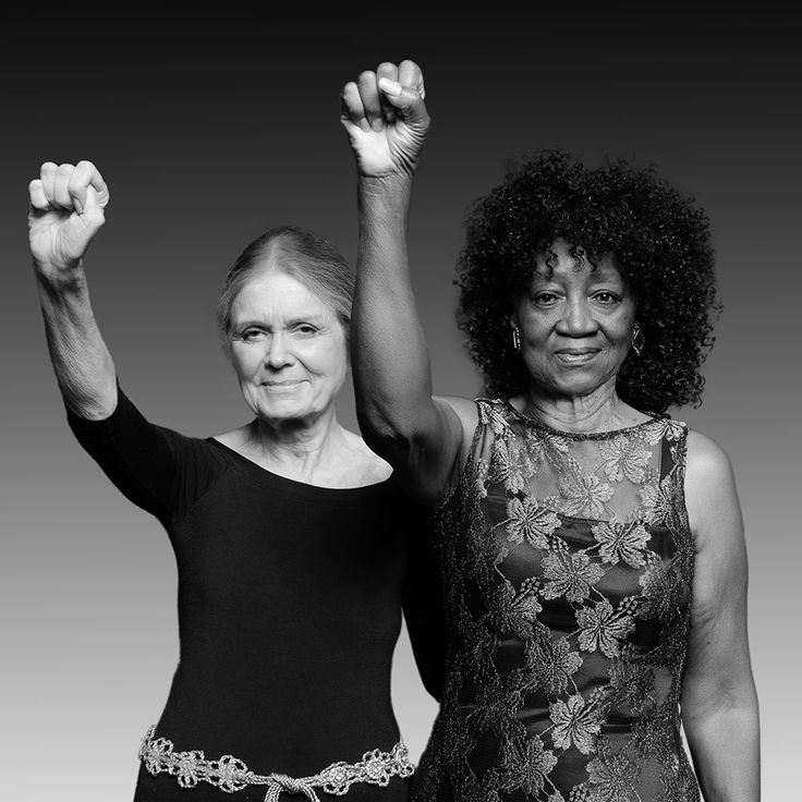 """Gloria Steinem and Dorothy Pitman-Hughes, 1972 and 2014  by Dan Bagan.. """"So don't try to divide us, do not try to divide us. If you force Muslims to register, we will all register as Muslims."""" GS, January 20, 2017"""