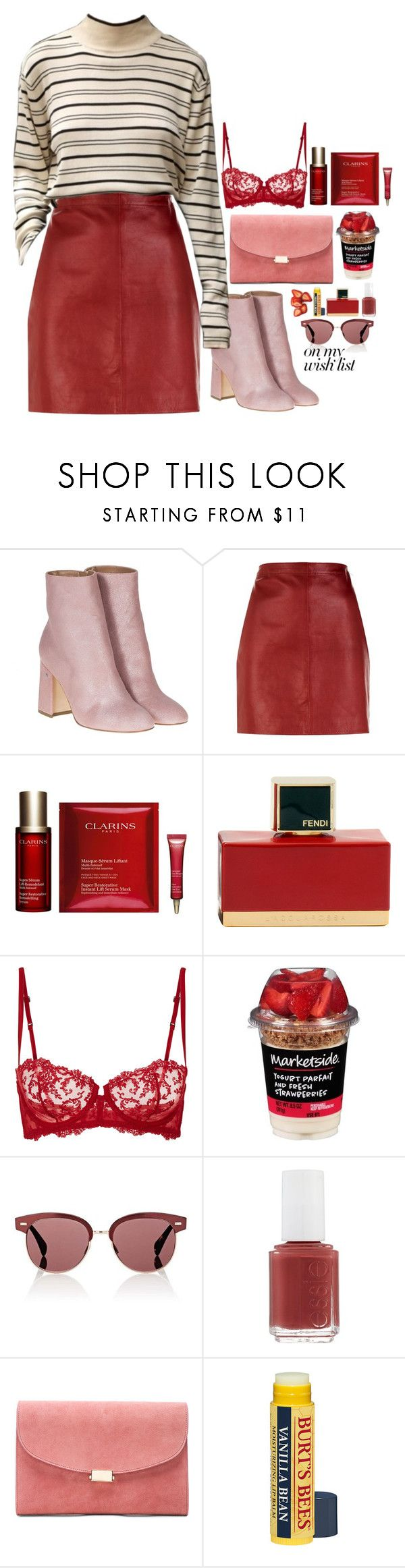 """#PolyPresents: Wish List"" by lenabitkina ❤ liked on Polyvore featuring Laurence Dacade, Sandro, Clarins, Disney, Fendi, La Perla, Oliver Peoples, Essie, Mansur Gavriel and contestentry"