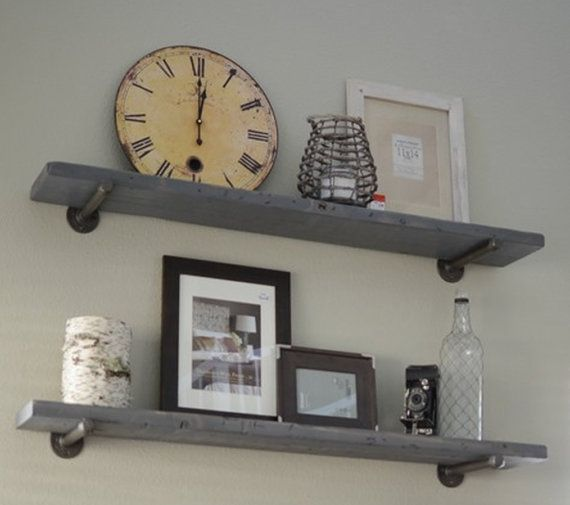 Industrial Gray Wash Floating Shelf With Pipe Brackets