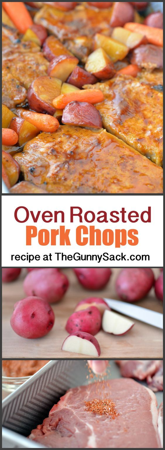 An easy, crave-worthy family dinner recipe for Oven Roasted Pork Chops with Potatoes and Carrots! #CampbellsSauces #ad