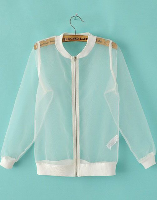 White Long Sleeve Sheer Organza Jacket 28.33