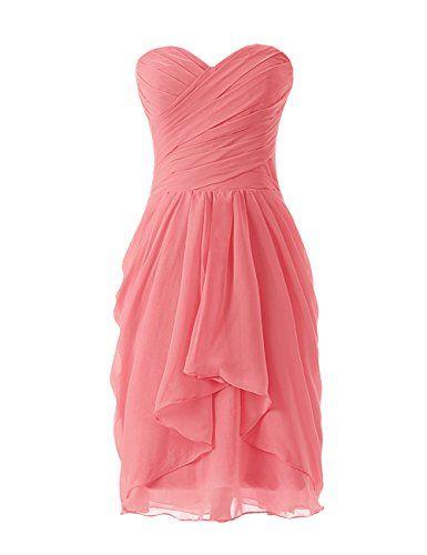 Dressystar Robe de demoiselle d'honneur/soirée/bal courte, à Col en Cœur,en Mousseline Taille 36 Corail Dressystar http://ebay.to/1GILXHh
