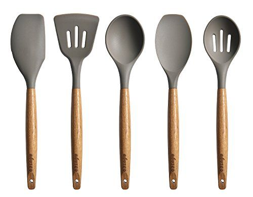 Miusco 5 Piece Silicone Cooking Utensil Set with Natural Acacia Hard Wood Handle. For product info go to:  https://all4hiking.com/products/miusco-5-piece-silicone-cooking-utensil-set-with-natural-acacia-hard-wood-handle/